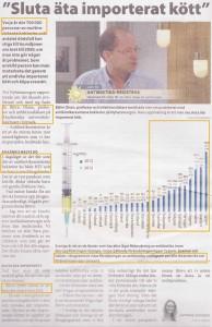 Artikel från Jordbruksaktuellt 16-10-12 om hotet från multiresistenta bakterier